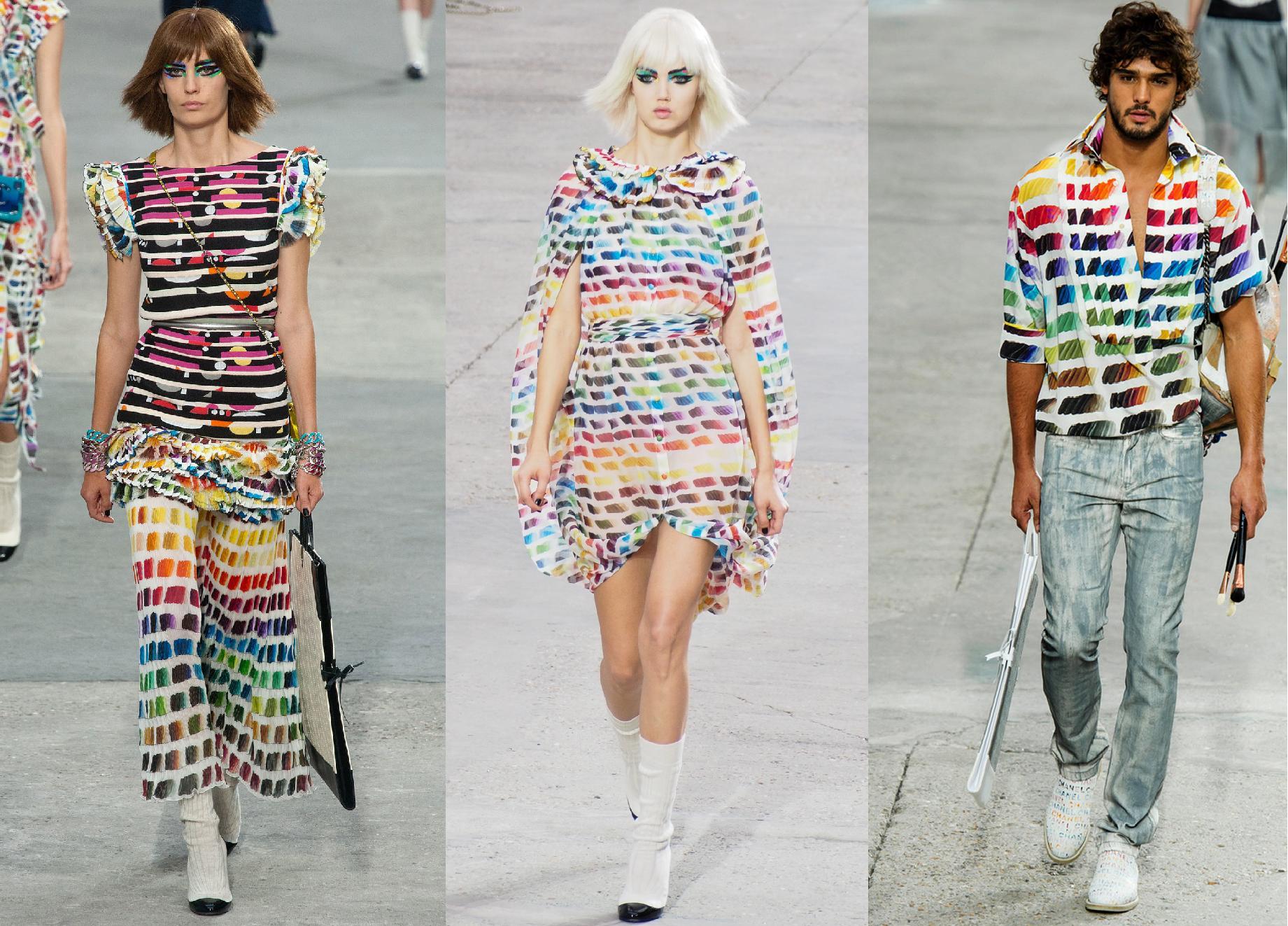 Chanel (Os modelos desfilaram com pincéis e pranchetas na mão para enfatizar ainda mais a tendência)